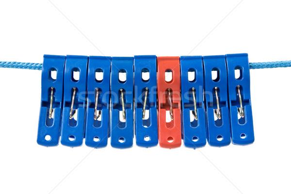 Waslijn kleding Blauw een Rood kleur Stockfoto © Grazvydas