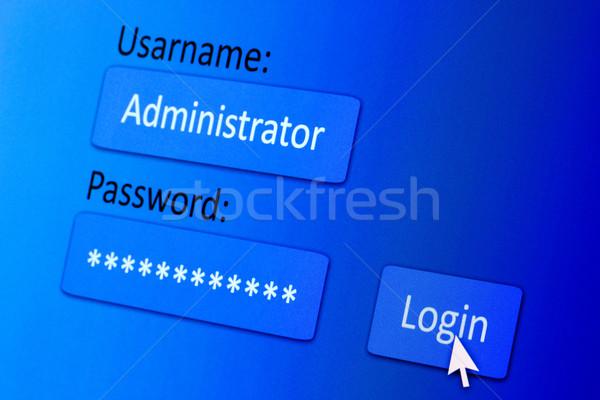 Login ekranu nazwa użytkownika hasło Internetu przeglądarka Zdjęcia stock © Grazvydas