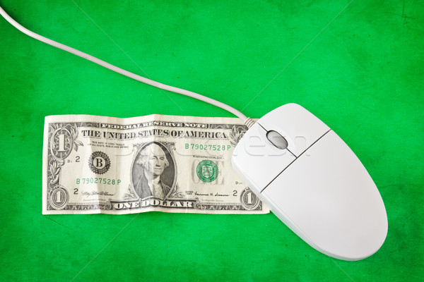 computer mouse on one dollar banknote Stock photo © Grazvydas