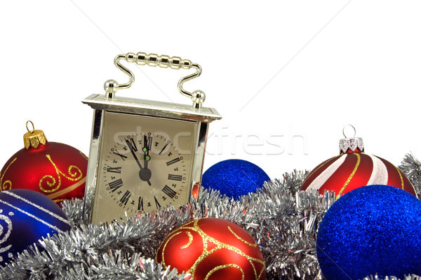 old clock and christmas decorations Stock photo © Grazvydas
