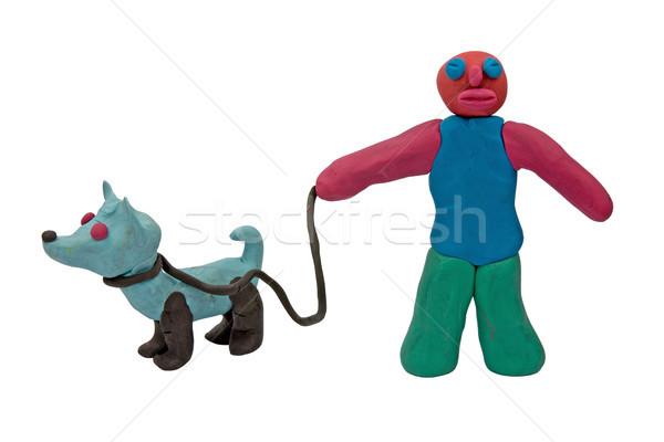 plasticine man with a dog Stock photo © Grazvydas