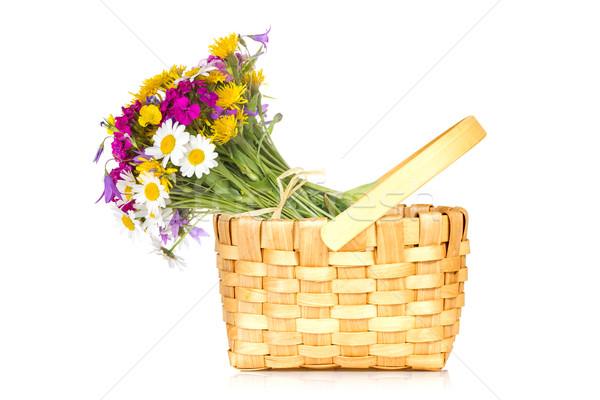 Cesta buquê flores silvestres isolado branco Foto stock © Grazvydas
