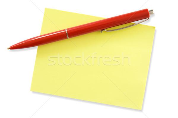 Rojo pluma amarillo memorándum listo propio Foto stock © Grazvydas