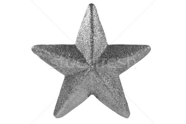 Silber Weihnachten Sterne isoliert weiß Winter Stock foto © Grazvydas