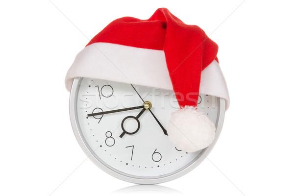 óra karácsony mikulás kalap izolált fehér Stock fotó © Grazvydas