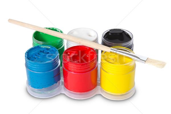 color gouache with paintbrush Stock photo © Grazvydas