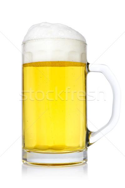 Caneca cerveja branco luz vidro álcool Foto stock © Grazvydas