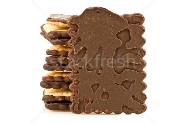 Cioccolato cookies isolato bianco torre Foto d'archivio © Grazvydas