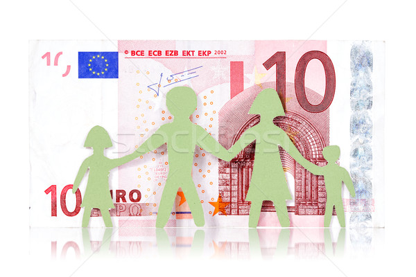 Stock photo: Paper family and ten Euro banknote