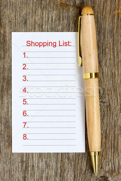 Kalem alışveriş liste ahşap kâğıt defter Stok fotoğraf © Grazvydas