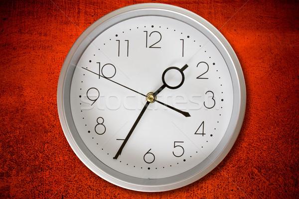 часы грязные красный стены серебро бизнеса Сток-фото © Grazvydas