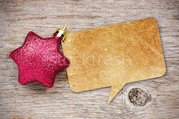 Kâğıt konuşma balonu Noel önemsiz şey geri dönüşümlü ahşap Stok fotoğraf © Grazvydas