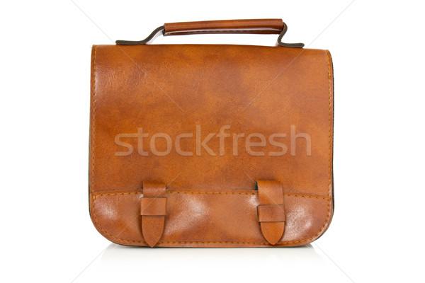 коричневый кожа сумку отражение белый Сток-фото © Grazvydas