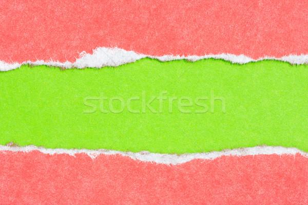 рваной бумаги красный зеленый цветами бумаги текстуры Сток-фото © Grazvydas