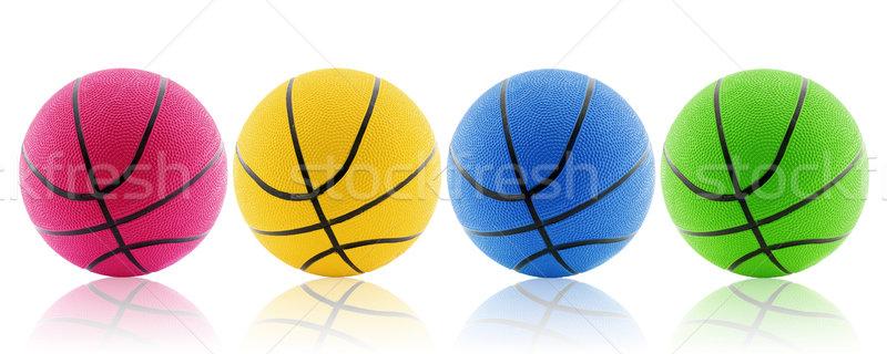 four colorful balls with reflection Stock photo © Grazvydas