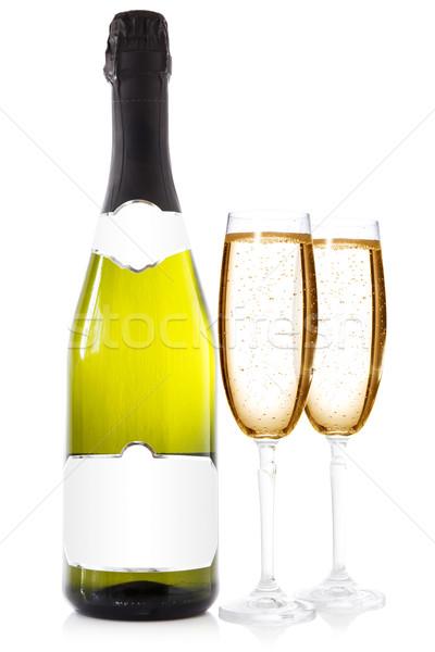 бутылку очки шампанского два белый вино Сток-фото © Grazvydas