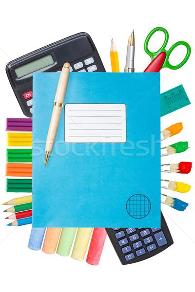 青 練習帳 学用品 孤立した 白 図書 ストックフォト © Grazvydas