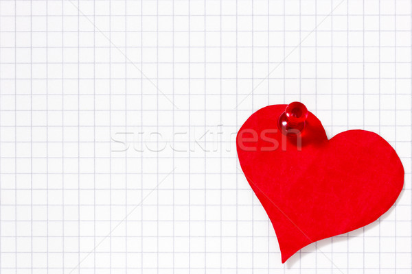 Paper heart pinned to the  paper sheet Stock photo © Grazvydas