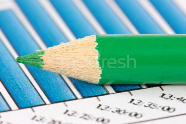 Verde lápis financeiro gráficos raso Foto stock © Grazvydas