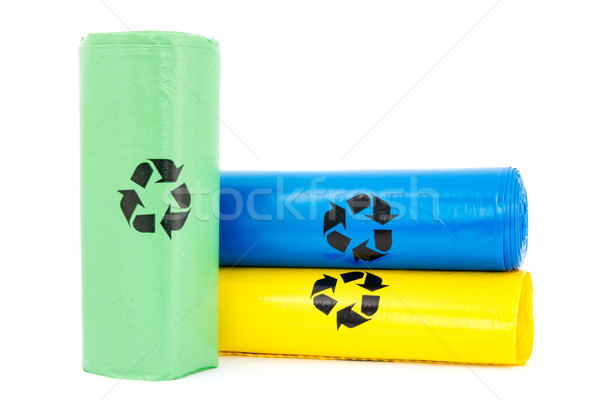 Stock photo: Plastic garbage bio bags
