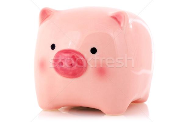 розовый Piggy Bank изолированный белый отражение окна Сток-фото © Grazvydas