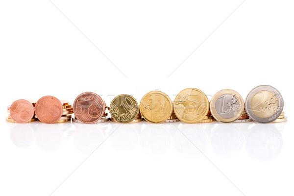 евро монетами набор изолированный белый металл Сток-фото © Grazvydas