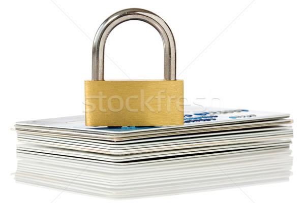 Karty kredytowe kłódki refleksji biały działalności zakupy Zdjęcia stock © Grazvydas