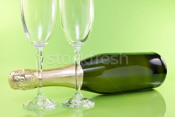 Champanhe garrafa óculos verde festa vidro Foto stock © Grazvydas