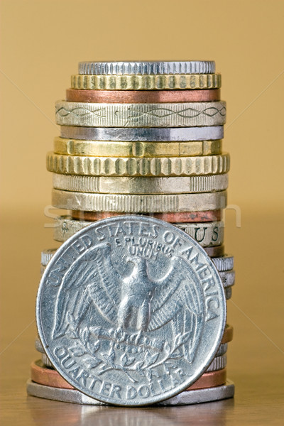 coins stack with quarter dollar Stock photo © Grazvydas