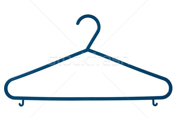 Blauw plastic kleerhanger geïsoleerd witte kleding Stockfoto © Grazvydas