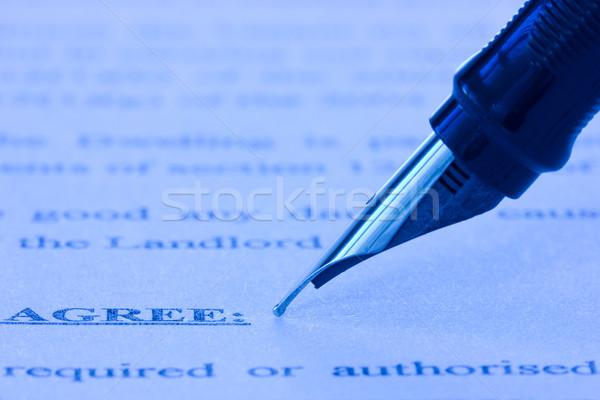 авторучка напечатанный соглашение бизнеса бумаги Сток-фото © Grazvydas