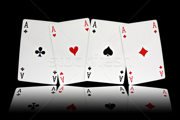 Négy ászok kártyapakli öltönyök fekete szív Stock fotó © Grazvydas
