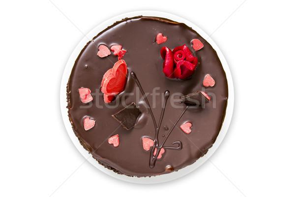 Top Ansicht Schokoladenkuchen weiß isoliert Essen Stock foto © Grazvydas