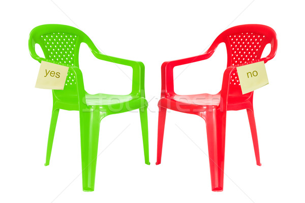 Green and red chair for debate Stock photo © Grazvydas