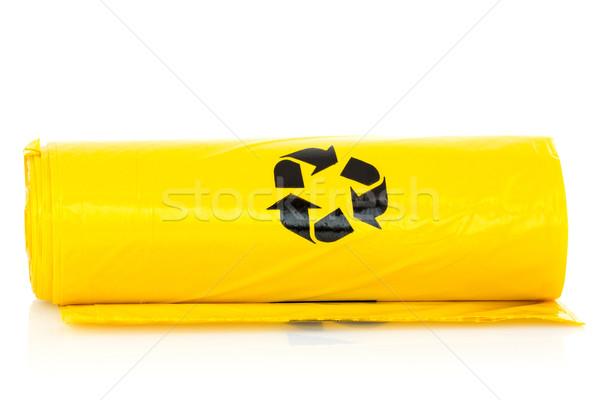 Сток-фото: желтый · мусора · bio · мешки · катиться · белый