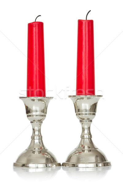 Due rosso candele bianco argento Foto d'archivio © Grazvydas