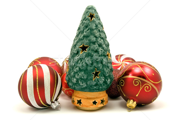 ceramic christmas tree and xmas baubles Stock photo © Grazvydas