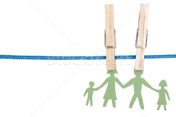 Paper family on the clothesline Stock photo © Grazvydas