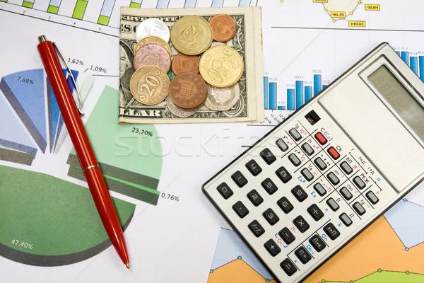финансовое планирование цвета калькулятор деньги диаграммы Сток-фото © Grazvydas