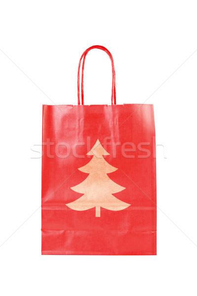 red  paper bag with christmas tree symbol Stock photo © Grazvydas