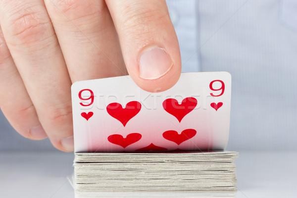 Strony dziewięć serca Gamble gracz kasyno Zdjęcia stock © Grazvydas