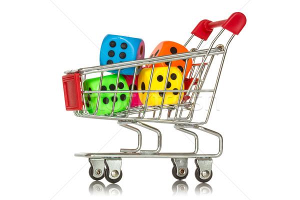покупке играх Корзина красочный Dice внутри Сток-фото © Grazvydas
