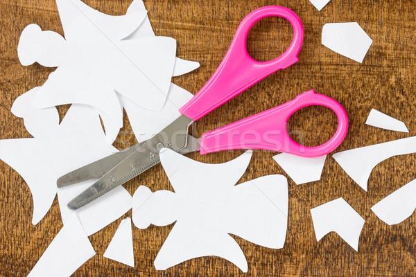 Papier gesneden witte engelen schaar tabel Stockfoto © Grazvydas