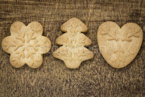 домашний пряничный Cookies деревянный стол древесины Рождества Сток-фото © Grazvydas