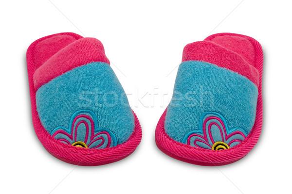 Paar kind slippers geïsoleerd witte home Stockfoto © Grazvydas