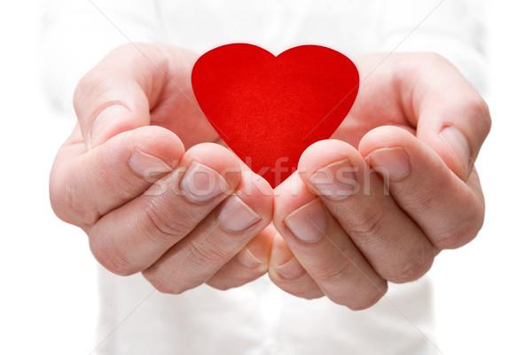 Kırmızı kalp eller sevmek el Stok fotoğraf © Grazvydas