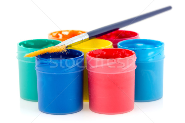 Colorful  gouache with paintbrush Stock photo © Grazvydas