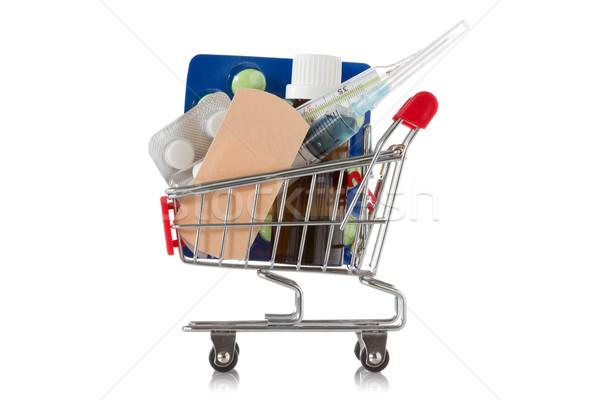 Bevásárlókocsi orvosi készletek tabletták izolált fehér vásárlás Stock fotó © Grazvydas