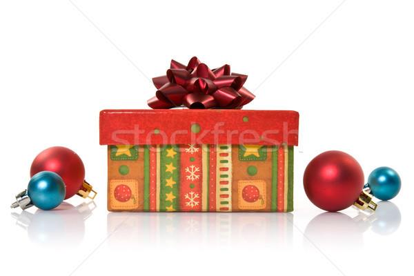 Scatola regalo Natale design blu palla nastro Foto d'archivio © Grazvydas
