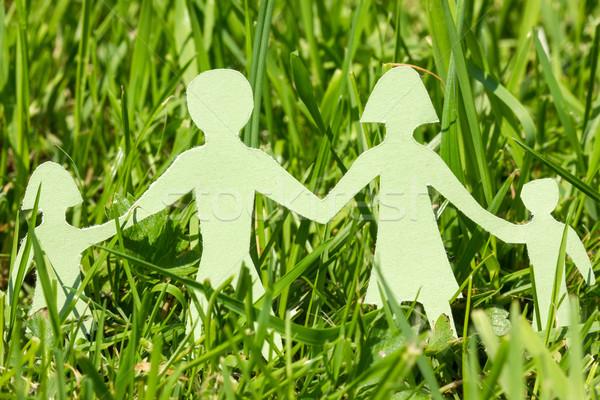 бумаги семьи зеленая трава ярко день группа Сток-фото © Grazvydas
